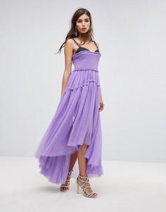 Платье макси с асимметричной юбкой из тюля и бретельками-цепочками ASOS EDITION - Фиолетовый