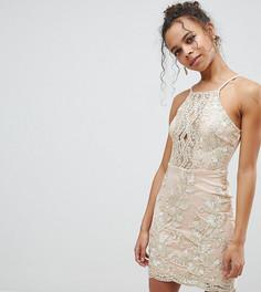 Платье с эффектом металлик и вышивкой Parisian Petite - Розовый
