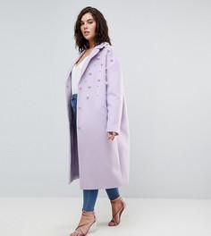 Мягкое пальто с искусственным жемчугом ASOS CURVE - Фиолетовый