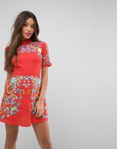 Платье мини с вышивкой ASOS PREMIUM - Оранжевый