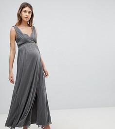 Платье макси с запахом и эффектом металлик Little Mistress Maternity - Серебряный