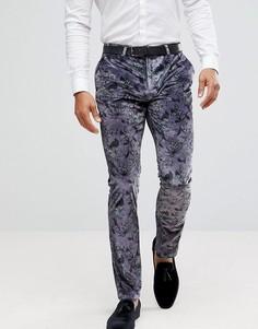 Супероблегающие бархатные брюки с принтом Noose & Monkey - Фиолетовый