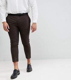 Облегающие укороченные брюки из ткани в елочку Heart & Dagger PLUS - Коричневый
