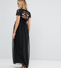 Платье макси из тюля со шнуровкой на спине Chi Chi London Maternity - Черный