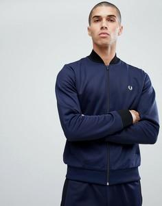 Синяя спортивная куртка в стиле бомбера Fred Perry - Синий
