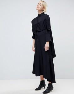 Платье с асимметричными вставками и оборками ASOS WHITE - Черный