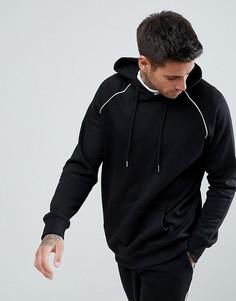 Черный худи с рукавами реглан и окантовкой boohooMAN - Черный