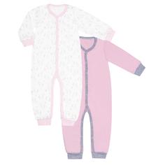 Комбинезон с открытой стопой для девочки, комплект 2 шт., Barkito «Лошадки», экрю с рисунком, розовый