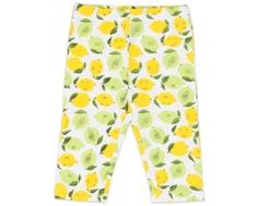 """Брюки трикотажные капри для девочки Barkito, """"Лимончики"""", белый, с рисунком """"лимончики"""""""