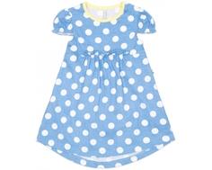 """Платье трикотажное Barkito, """"У синего-синего моря"""" , голубое, с рисунком """"в горох"""""""