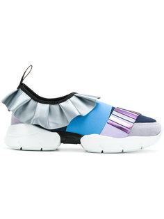 кроссовки с оборочной отделкой с металлическим отблеском Emilio Pucci