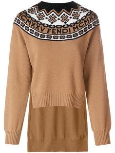 трикотажный свитер с геометрическим рисунком Fendi