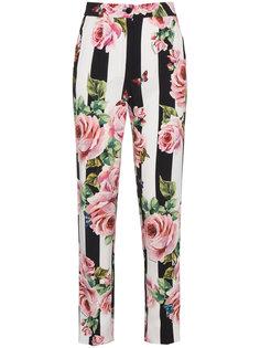 полосатые брюки с розами Dolce & Gabbana