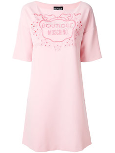 платье с резным узором и логотипом Boutique Moschino