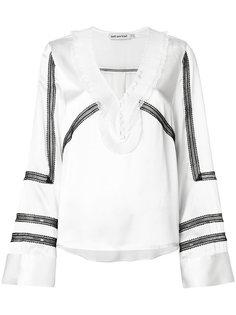 блузка с контрастной кружевной отделкой Self-Portrait