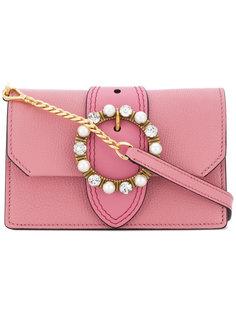 сумка на плечо с декорированной пряжкой Miu Miu