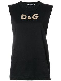 топ с логотипом с кристаллами Dolce & Gabbana