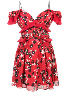 платье мини с открытыми плечами и цветочным принтом  Self-Portrait