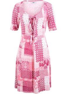 Платье с коротким рукавом (ягодный/ярко-розовый матовый с узором) Bonprix