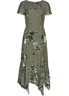 Платье с цветочным принтом (оливковый с рисунком) Bonprix
