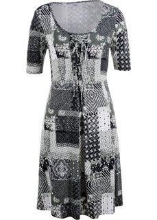 Платье с коротким рукавом (черный/белый с узором) Bonprix