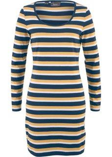 Платье-стретч из трикотажа, длинный рукав, с принтом (темно-синий/карри/белый в полоску) Bonprix