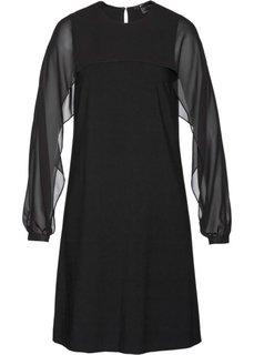 Платье с шифоновыми рукавами (черный) Bonprix