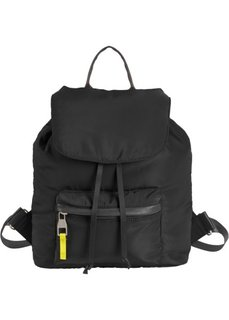 Рюкзак с накладными карманами (черный/зеленый лайм) Bonprix