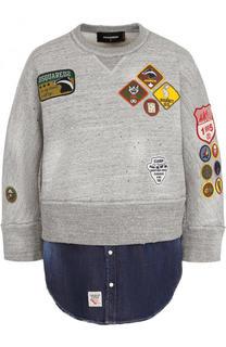 Хлопковый свитшот с джинсовой вставкой и контрастными нашивками Dsquared2