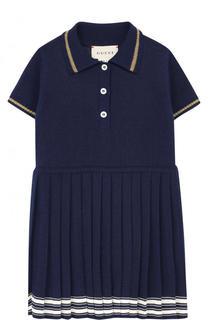 Платье с плиссированной юбкой и контрастной отделкой Gucci