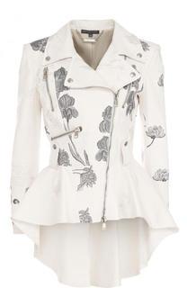 Кожаная куртка с оборкой и контрастной вышивкой Alexander McQueen