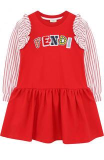 Хлопковое платье с аппликациями и оборками Fendi Roma