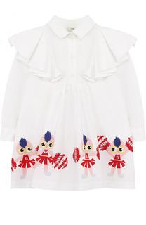 Хлопковое платье свободного кроя с принтом и оборками Fendi Roma