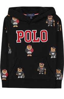Хлопковое худи с принтом и логотипом бренда Polo Ralph Lauren