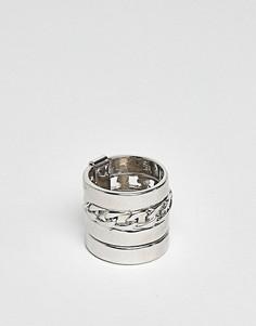 Серебристое кольцо с отделкой в форме цепочки ASOS - Серебряный