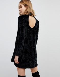 Бархатное платье с длинными рукавами NYTT Elizabeth - Черный
