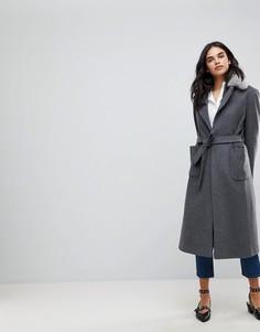 Легкое пальто с поясом и искусственным мехом Helene Berman - Черный