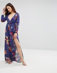Платье макси с длинными рукавами и цветочным принтом Club L - Фиолетовый