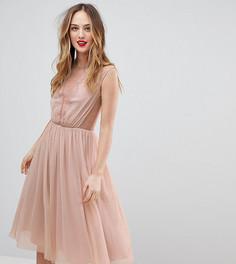 Платье-футболка миди с кружевными вставками ASOS TALL - Розовый