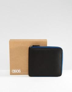 Черный кожаный кошелек с контрастной темно-синей молнией ASOS - Черный