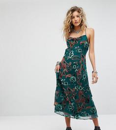 Платье макси с бархатом деворе Sacred Hawk - Зеленый