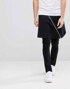 Супероблегающие брюки с юбкой и молниями ASOS - Черный