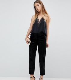 Бархатные премиум-брюки под смокинг ASOS PETITE - Черный