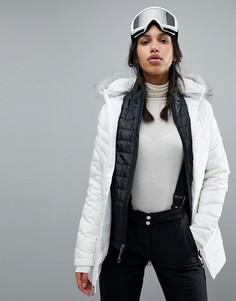 Длинная горнолыжная куртка с искусственным мехом Spyder Timeless - Белый