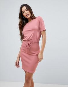 Платье мини с юбкой в рубчик и корсетной отделкой на талии ASOS - Розовый