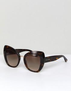 Солнцезащитные очки кошачий глаз в черепаховой оправе 51 мм Dolce & Gabbana 0DG4319 - Коричневый