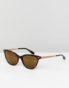 Солнцезащитные очки кошачий глаз 54 мм в черепаховой оправе Ray-Ban 0RB4360 - Коричневый