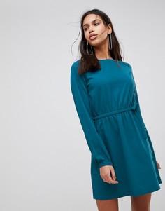 Платье с присборенной талией и длинными рукавами Vila - Фиолетовый