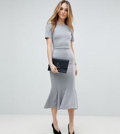 Платье миди с оборкой ASOS TALL - Серый