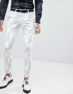 Бархатные супероблегающие брюки с принтом Noose & Monkey - Белый